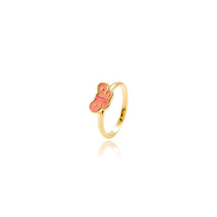 Anel Infantil Folheado Ouro 18K Borboleta com Resi