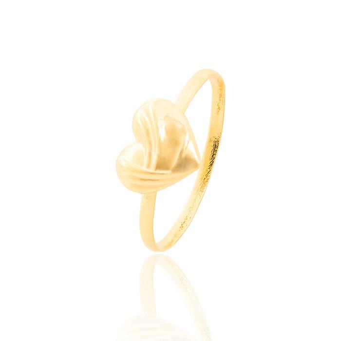 Anel Infantil Folheado Ouro 18K com Coração Detalhado