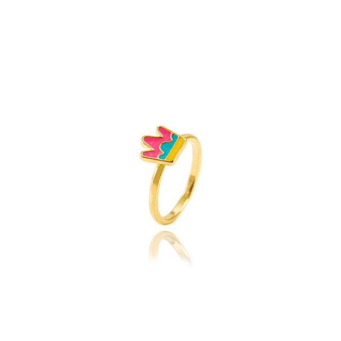 Anel Infantil Folheado Ouro 18K Coroa com Resina