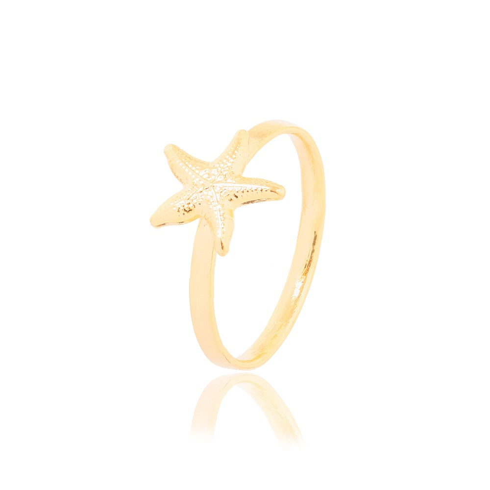 Anel Infantil Folheado Ouro 18K estrela do Mar