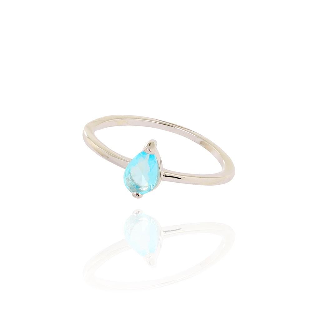 Anel Liso com Pedra Gota Cristal Aquamarine Folheado Ródio