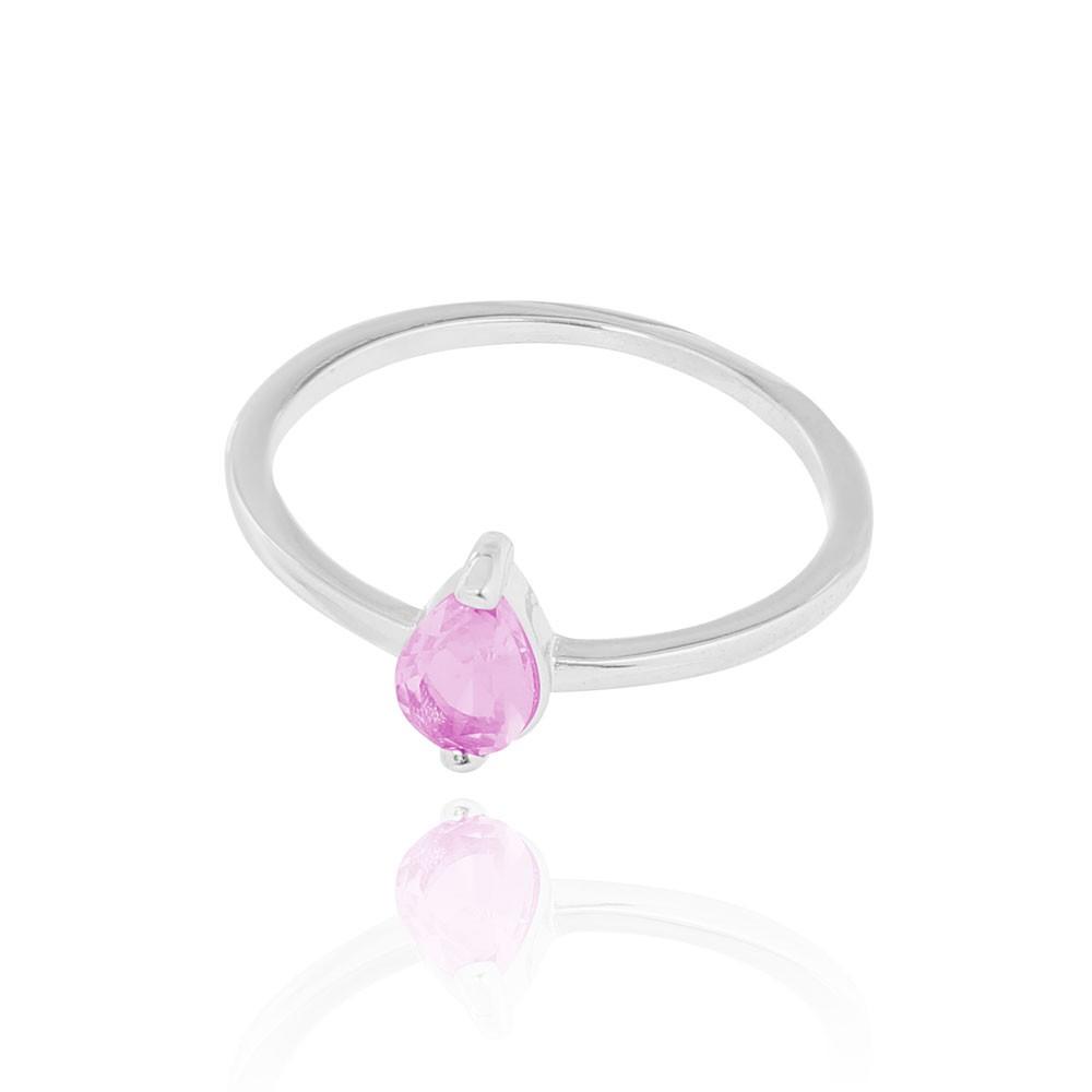 Anel Liso com Pedra Gota Cristal Rosa Folheado Ródio