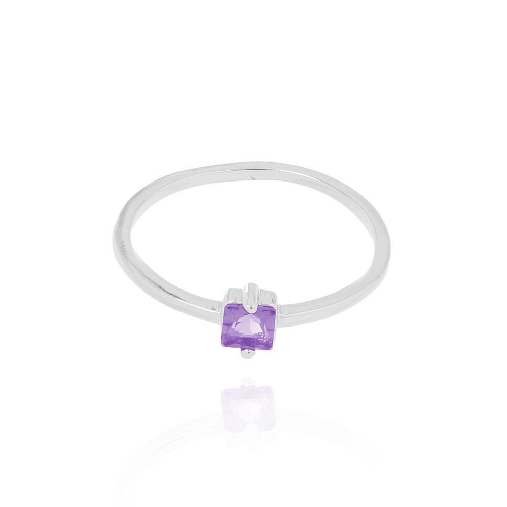 anel Liso com Pedra Quadrada Cristal Ametista Folheado Ródio