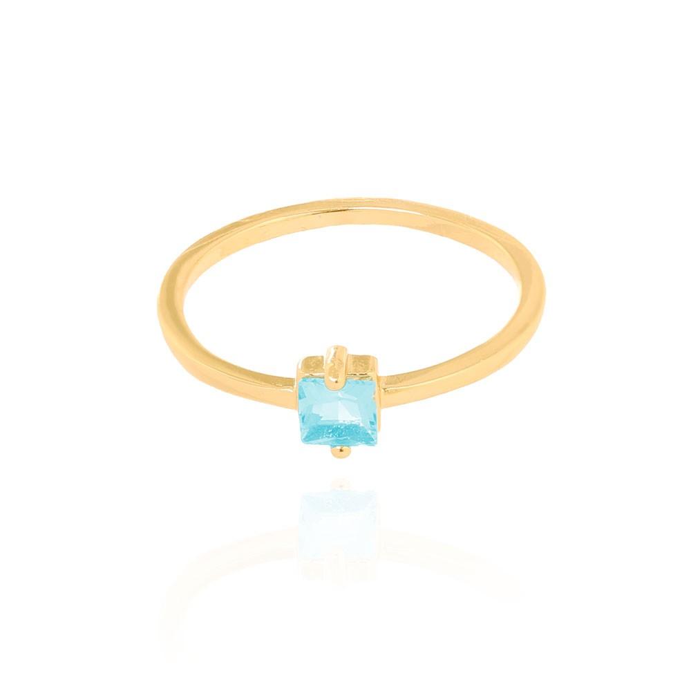 Anel Liso com Pedra Quadrada Cristal Aquamarine Folheado Ouro 18K