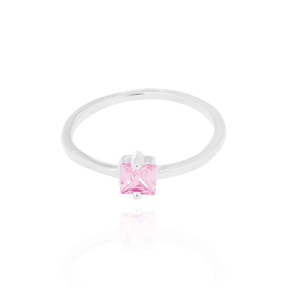 Anel Liso com Pedra Quadrada Cristal Rosa  Folheado Ródio
