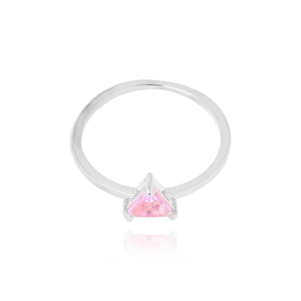 Anel Liso com Pedra Retangular Folheado Ródio Cristal Rosa