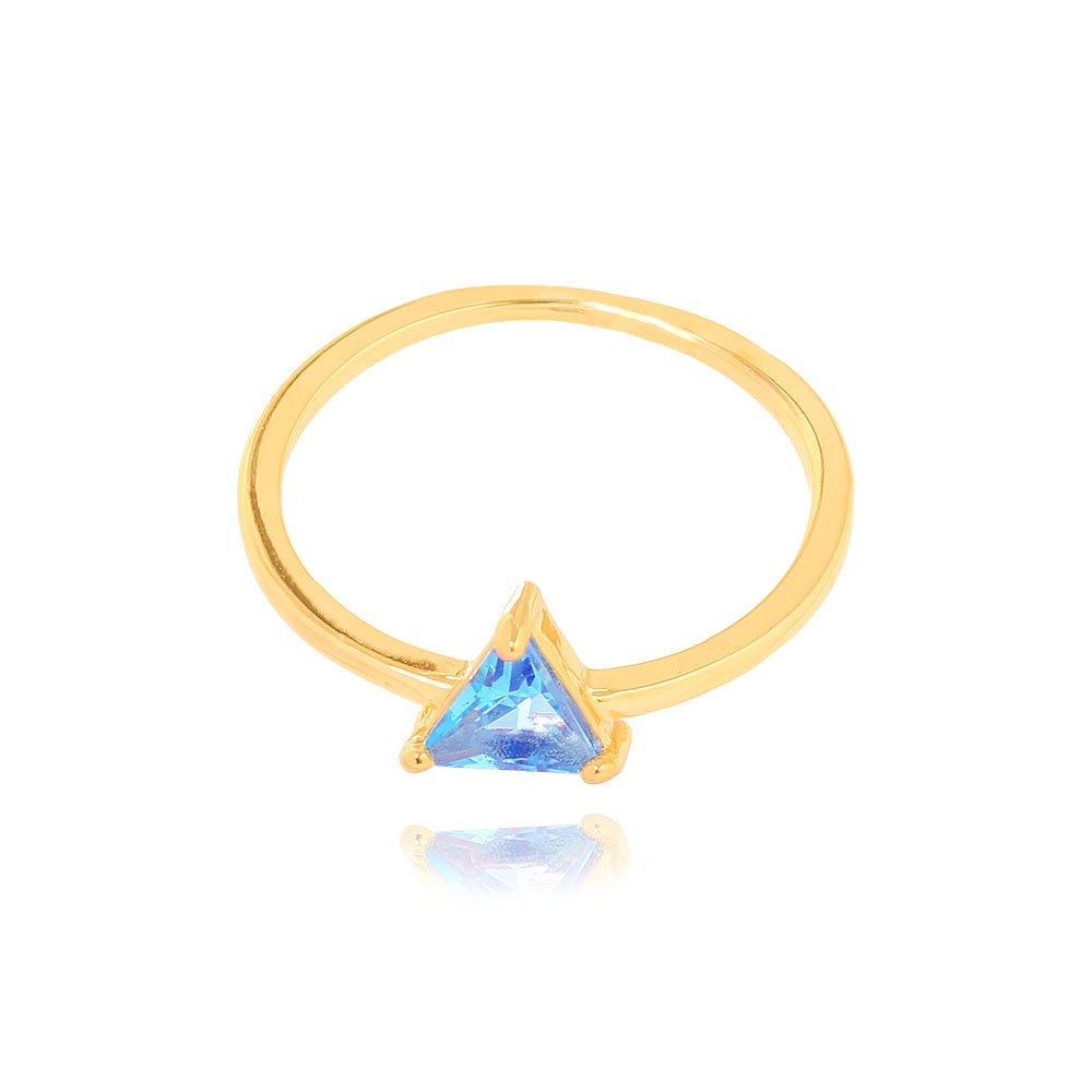 Anel Liso com Pedra Triangular Folheado Ouro 18K Cristal Aquamarine