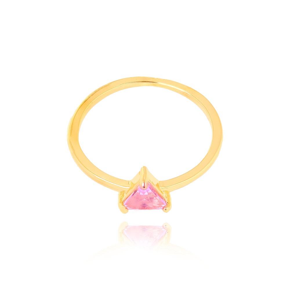 Anel Liso com Pedra Triangular Folheado Ouro 18K Cristal Rosa