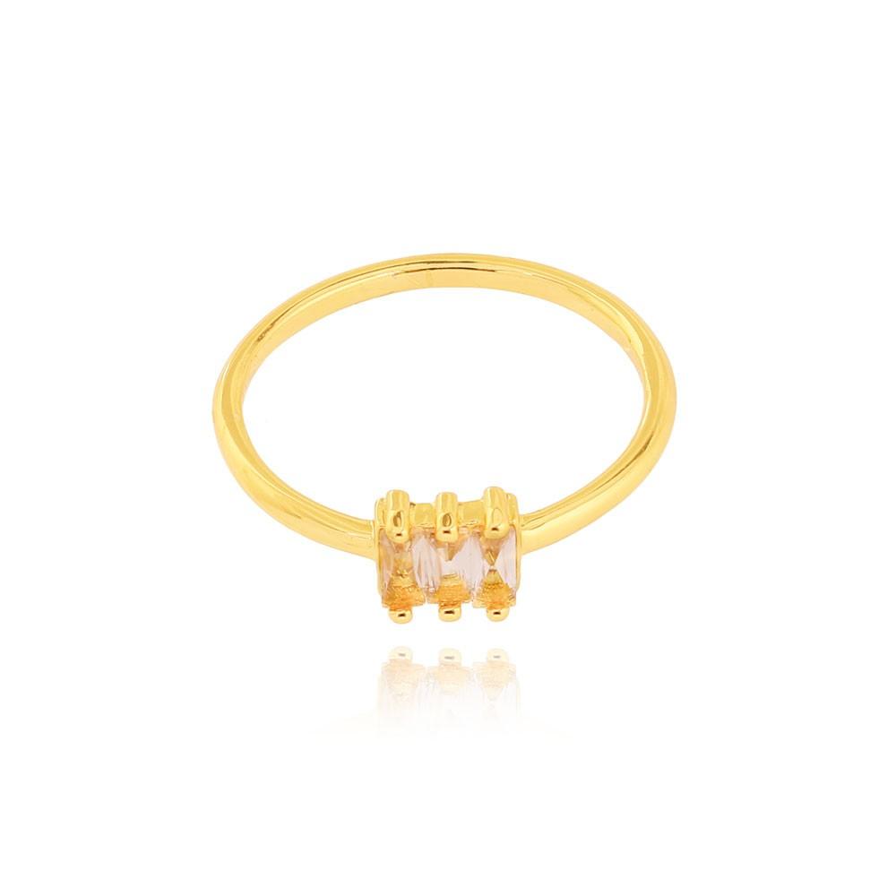 Anel Liso com Três Pedras Folheado Ouro 18K Cristal Citrino