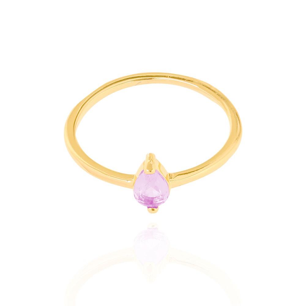 Anel Liso Gota Cristal Rosa Folheado Ouro 18K
