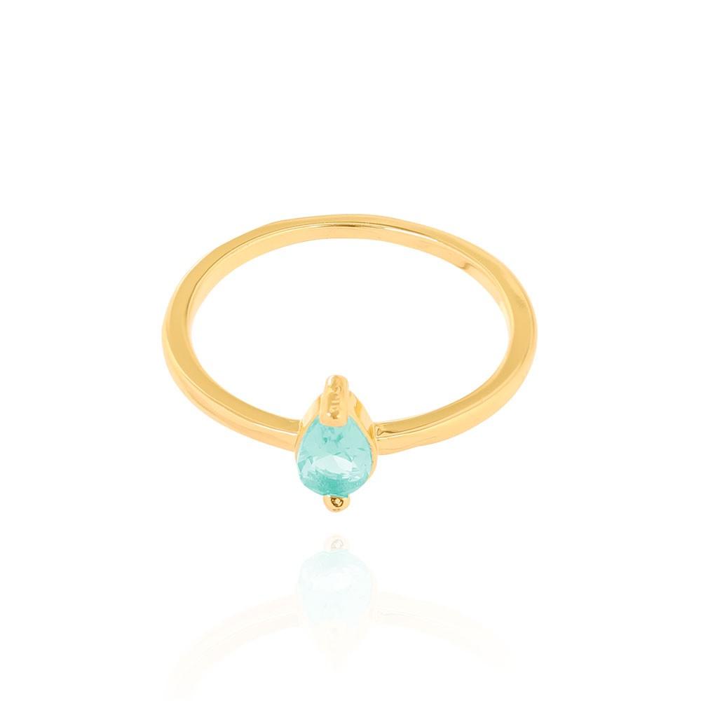 Anel Liso Gota Cristal Folheado Ouro 18K Turmalina