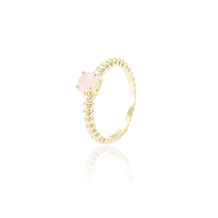 Anel Pedra Redonda Rosa Leitoso Semijoia Ouro 18K