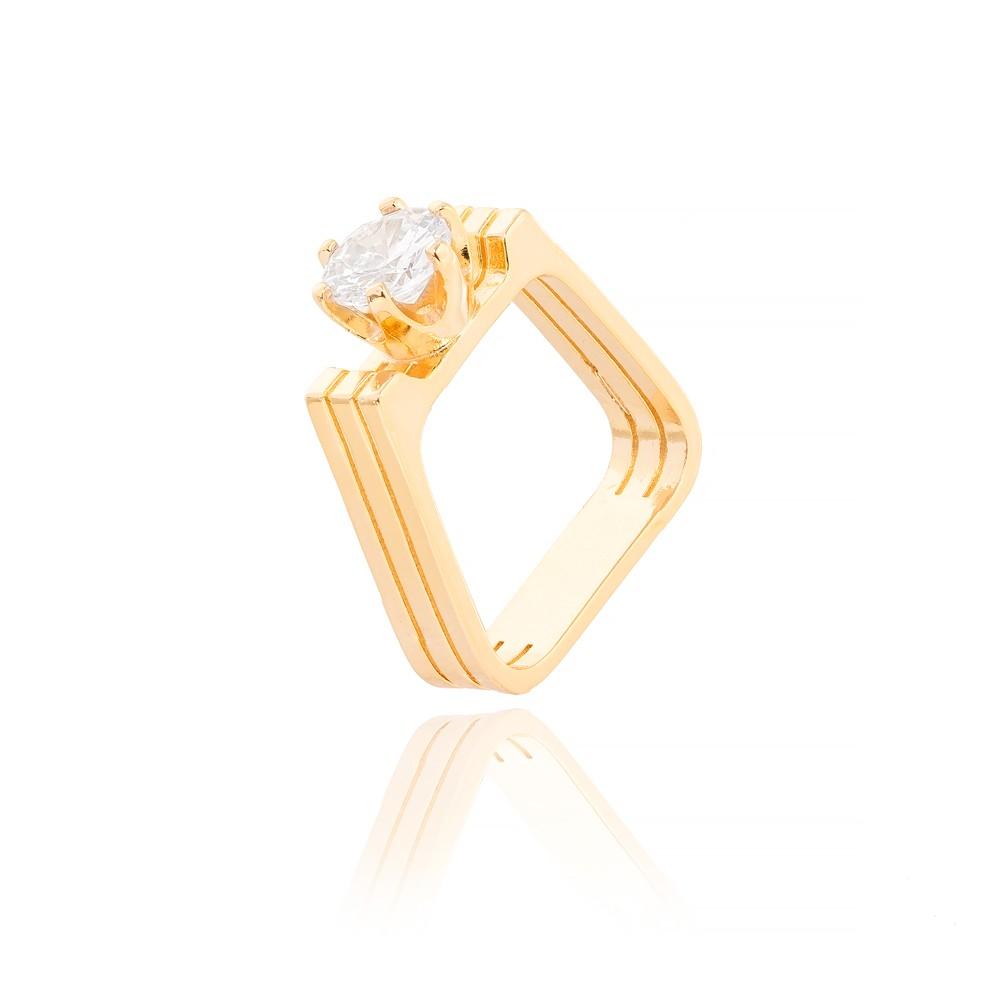Anel Quadrado Folheado Ouro 18K com Ponto de Luz Cristal