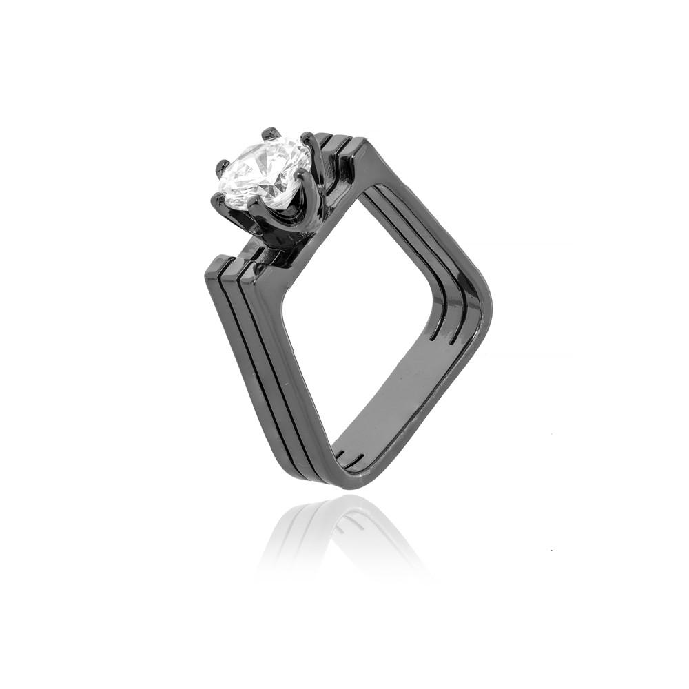Anel Quadrado Folheado Ródio Negro  com Ponto de Luz Cristal