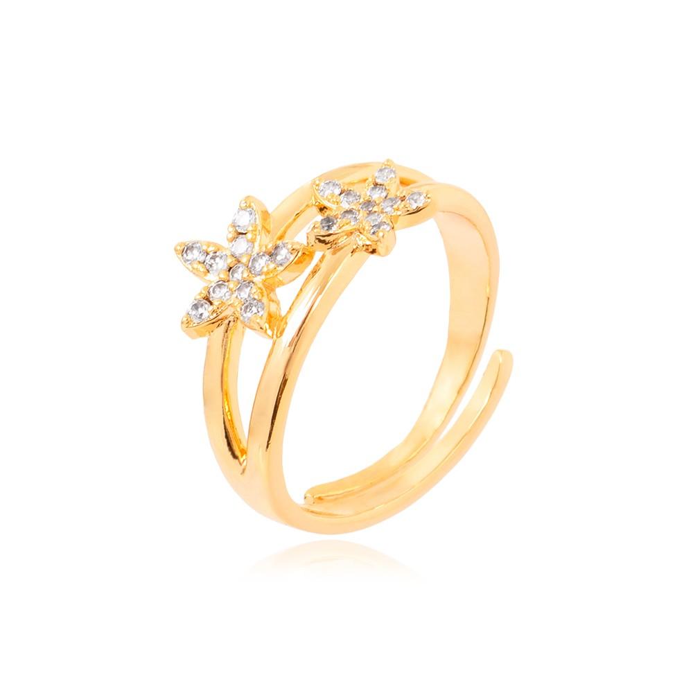 Anel Regulável Folheado Ouro 18K com Flor de Micro Zircônia  Cristal