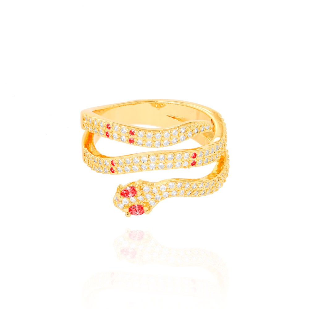 Anel Snake Três Fileiras Folheado Ouro 18K Micro Zircônia Pink