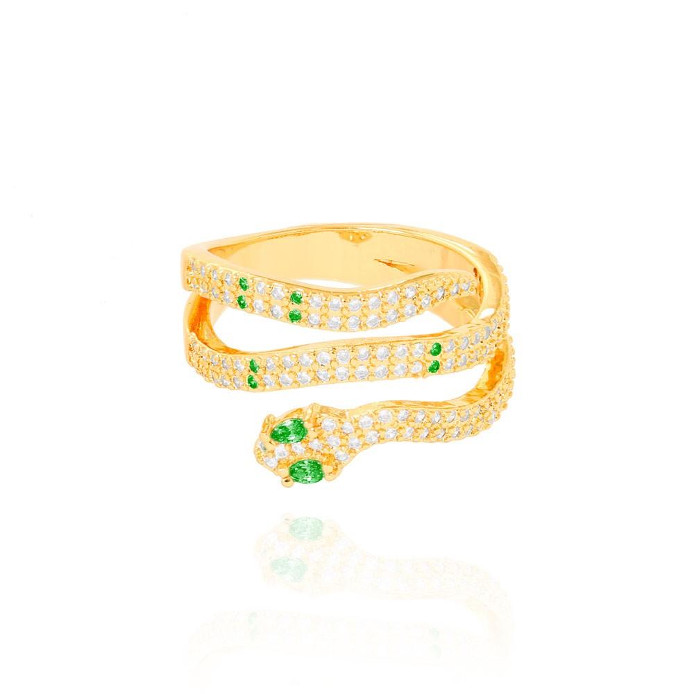 Anel Snake Três Fileiras Folheado Ouro 18K Micro Zircônia Verde