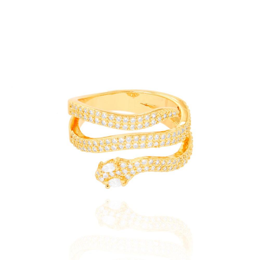 Anel Snake Três Fileiras Micro Zircônia Folheado Ouro 18K Cristal