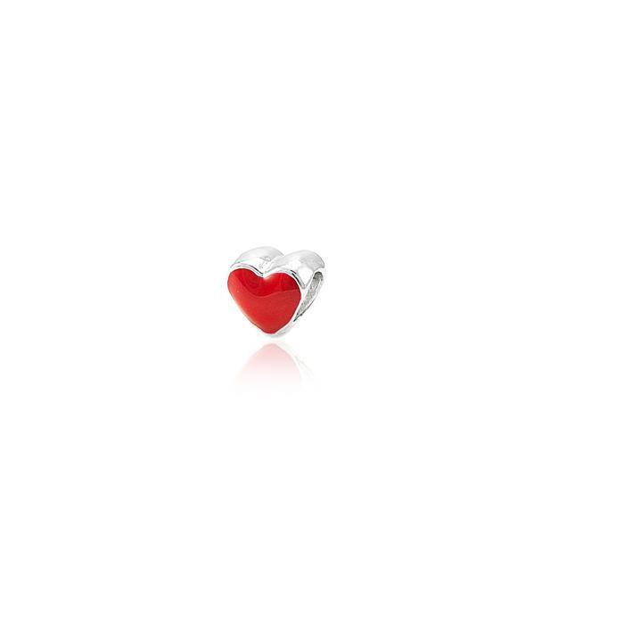 Berloque de Passar Folheado Ródio Coração com Resina Vermelha