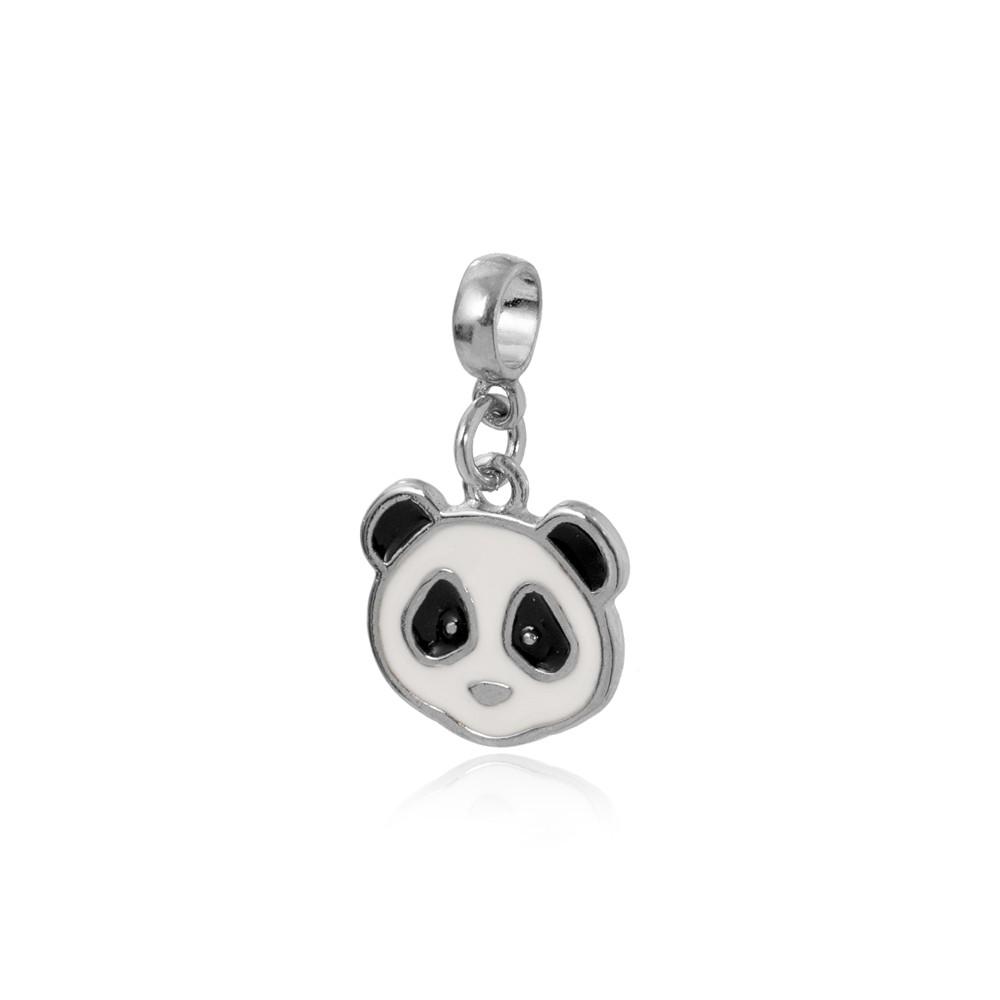 Berloque Folheado Ródio Panda com Resina