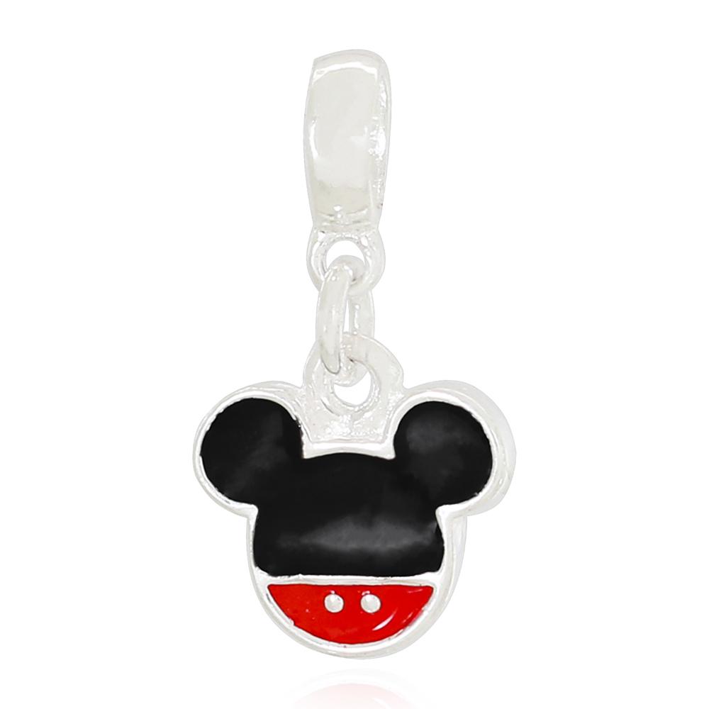 Berloque Mickey Resinado Banhada a Prata