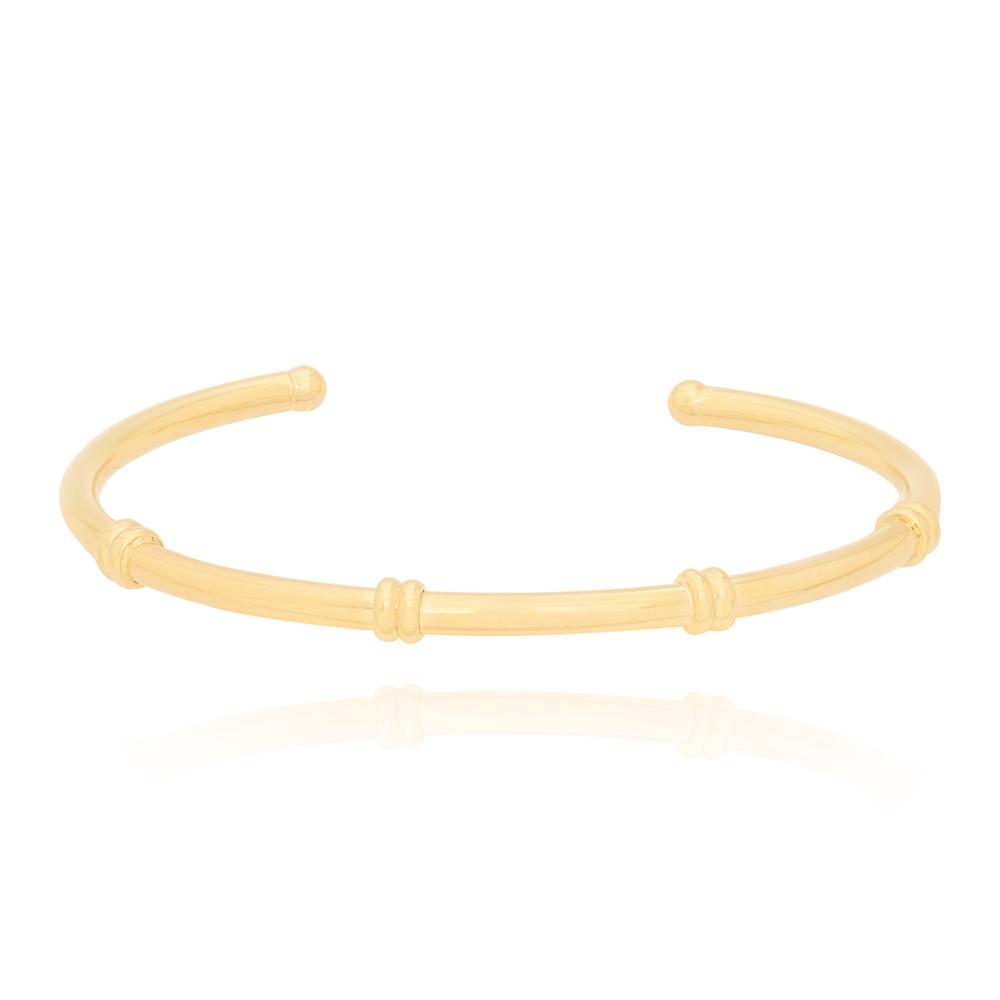 Bracelete Bambu Espaçado Semijoia Ouro 18K