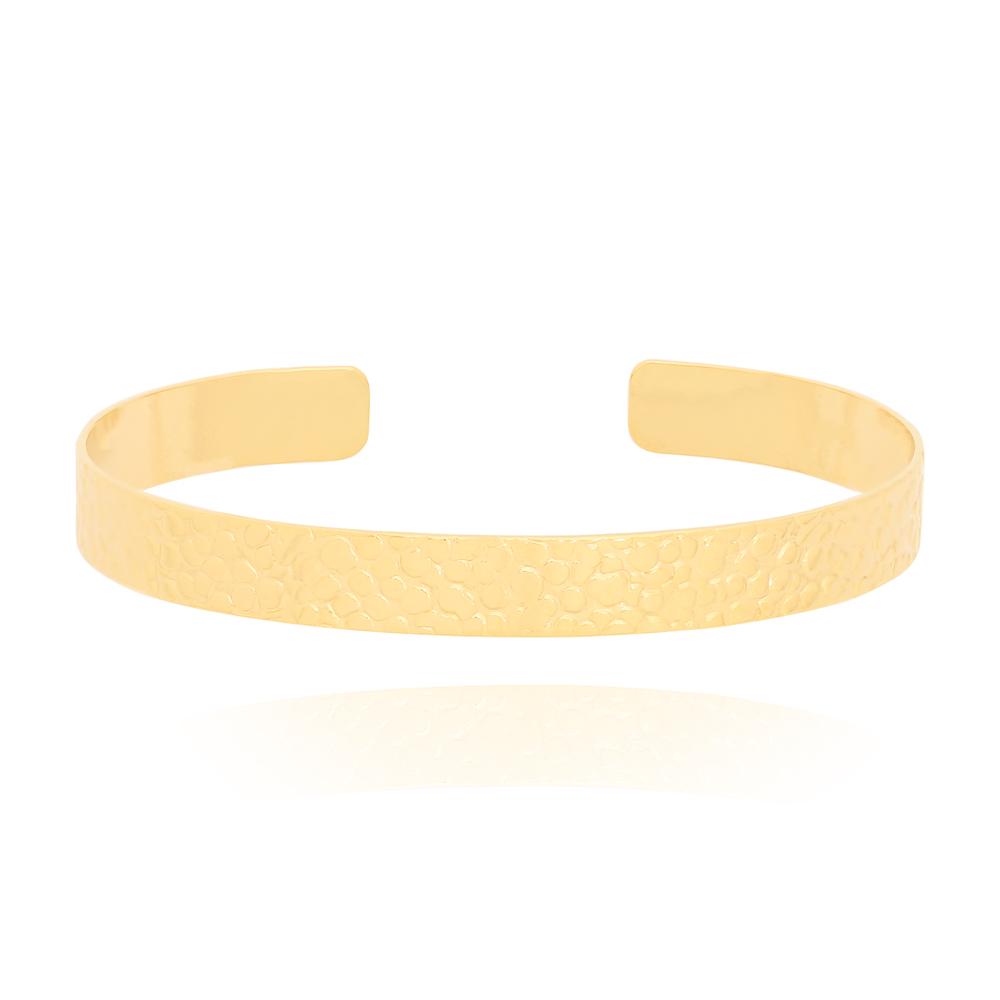 Bracelete com Detalhes em Círculos Texturizados Semijoia Ouro 18K
