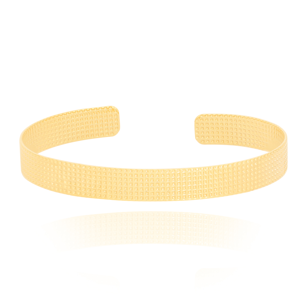 Bracelete com Detalhes Quadrados Texturizados Semijoia Ouro 18K