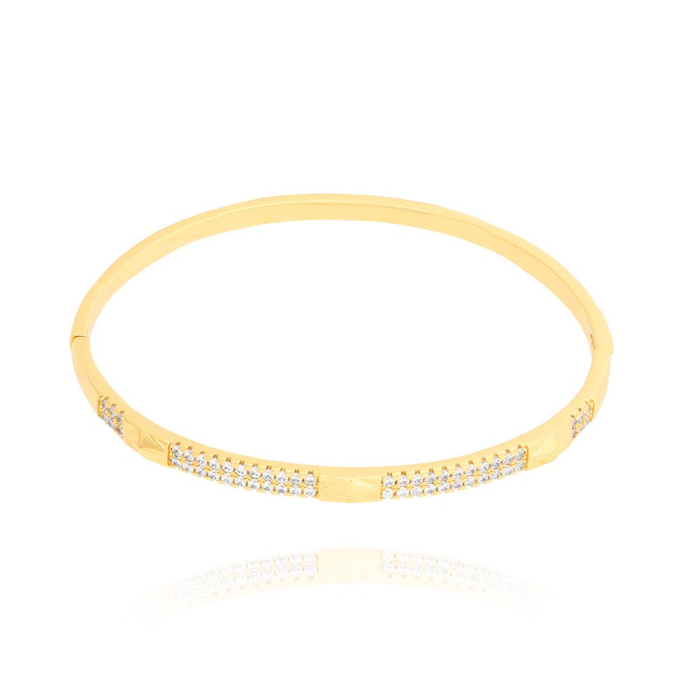 Bracelete Duas Fileiras de Zircônias e Detalhes Losango Liso Semijoia Ouro 18K