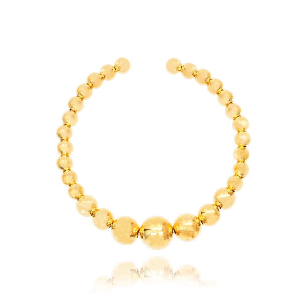 Bracelete Esferas Lisas Folheado Ouro 18K