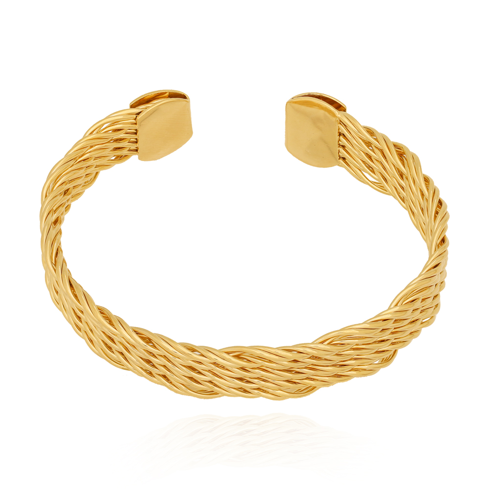 Bracelete Fios Trançados Achatado Semijoia Ouro 18K
