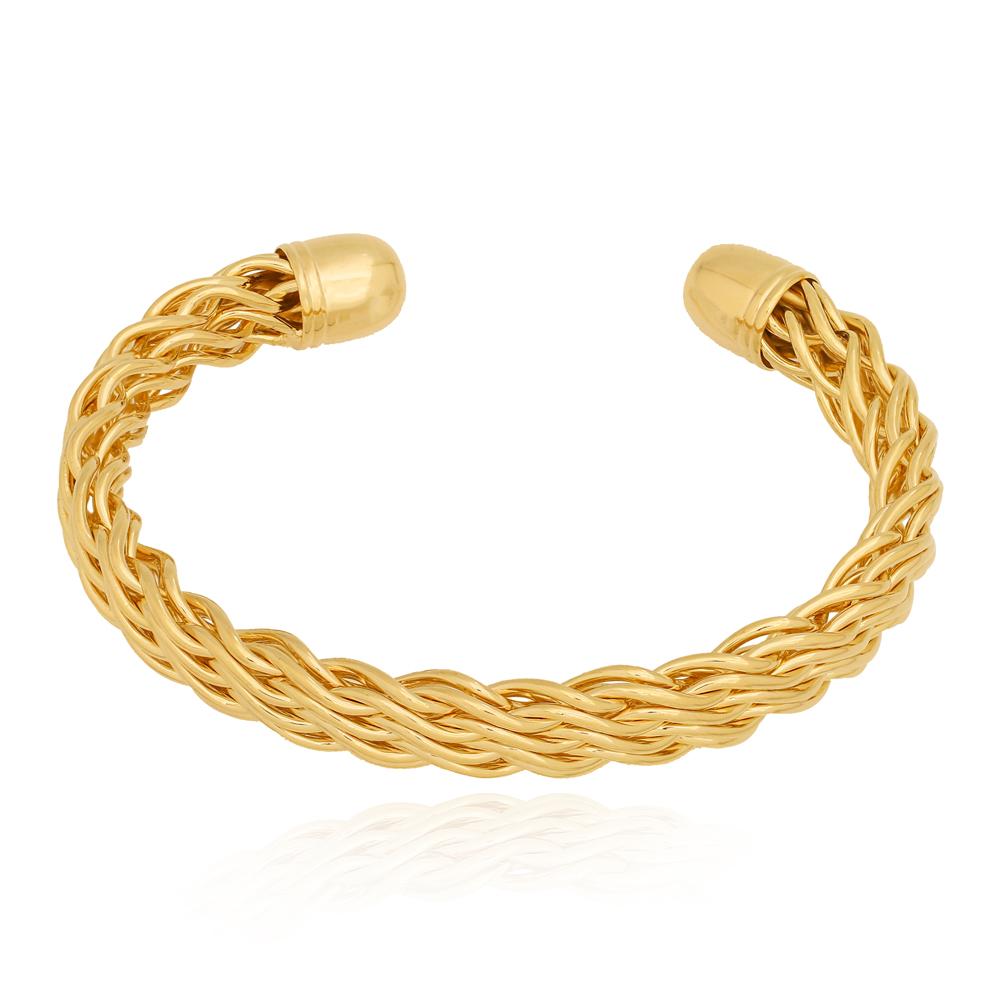 Bracelete Fios Trançados Semijoia Ouro 18K