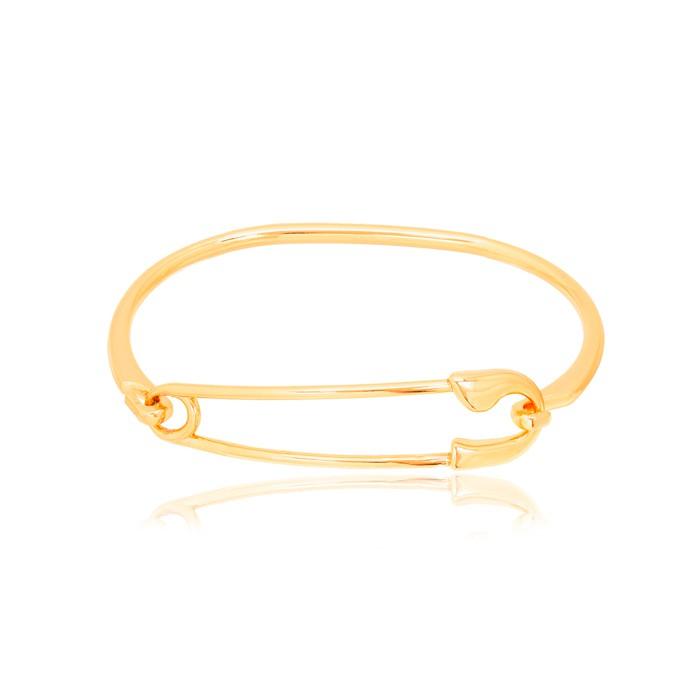Bracelete Folheado Ouro 18K com Alfinete no Centro