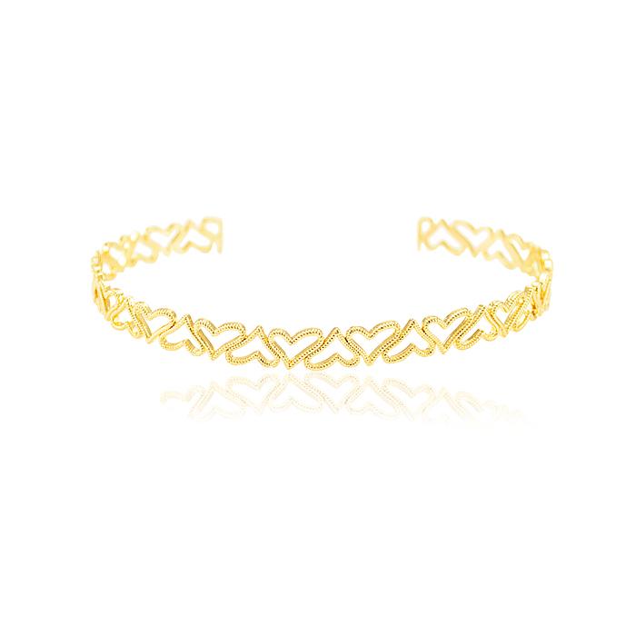 Bracelete Folheado Ouro 18K Corações Vazado