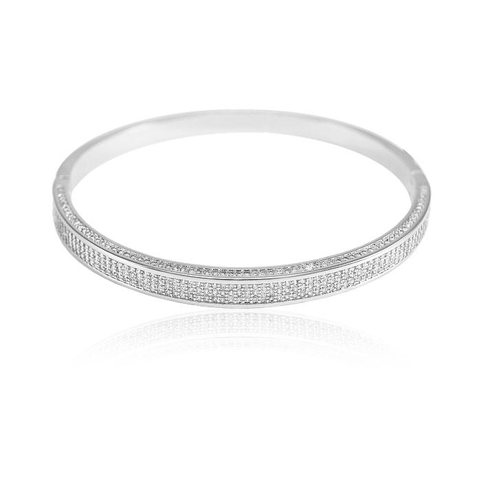 Bracelete Folheado Ródio com Detalhes de Micro Zir