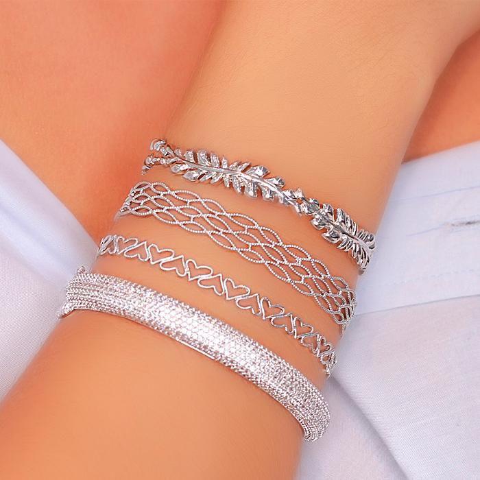 Bracelete Folheado Ródio Galhos com Folhas