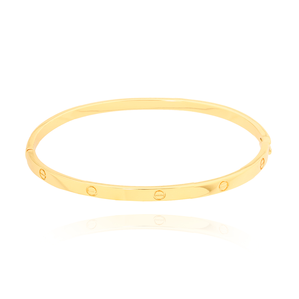 Bracelete Liso com Círculos Folheado Ouro 18K