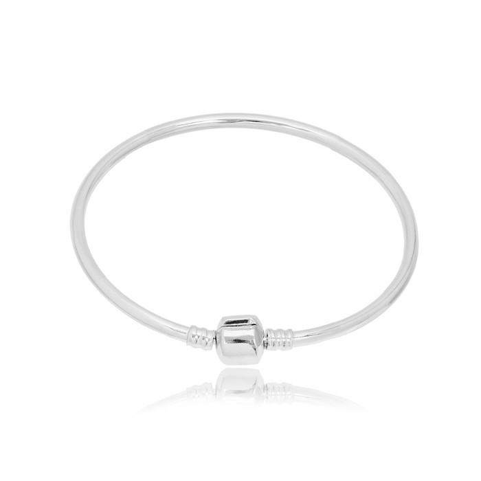 Bracelete Pandora Folheado Ródio  Rígido Médio