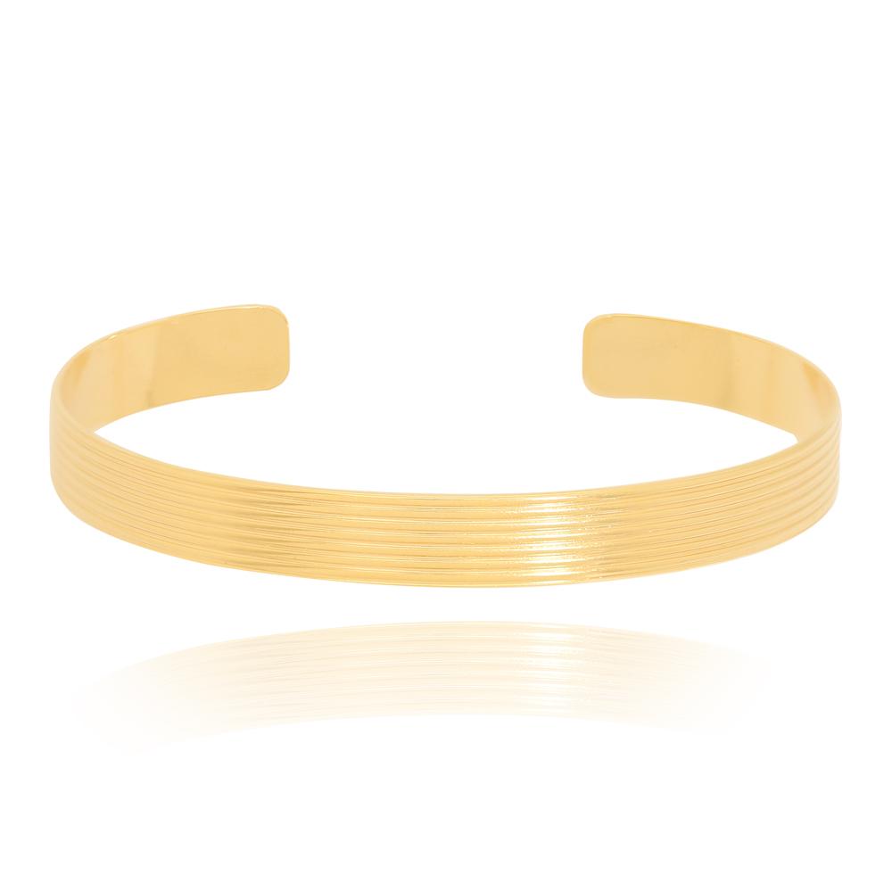 Bracelete Sete Linhas Liso Semijoia Ouro 18K