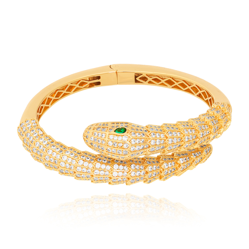 Bracelete Snake com Zircônias Cristais e Olho de Esmeralda Semijoia Ouro 18K Champagne
