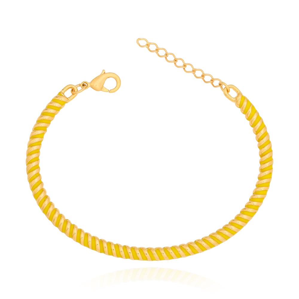 Bracelete Torcido Amarelo Semijoia Ouro 18K