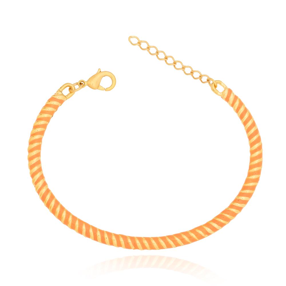 Bracelete Torcido Laranja Semijoia Ouro 18K