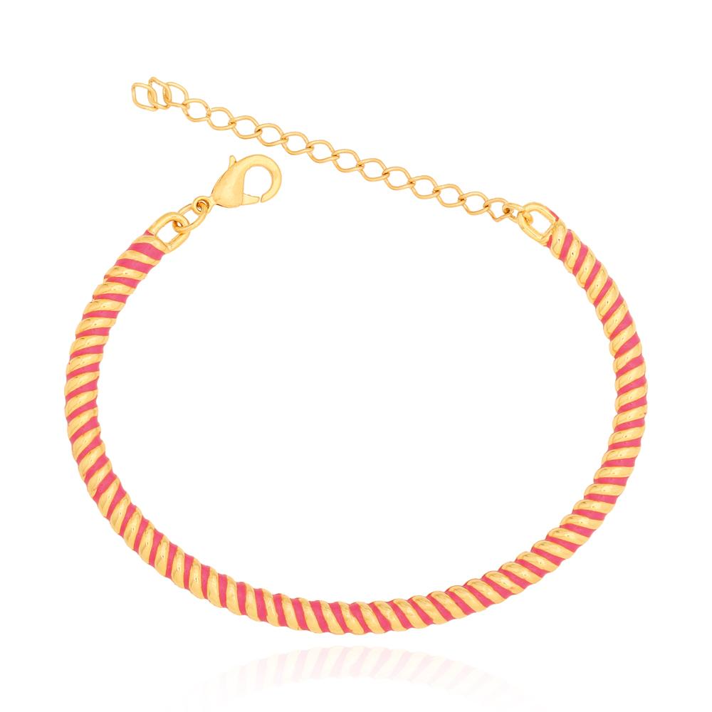 Bracelete Torcido Rosa Semijoia Ouro 18K
