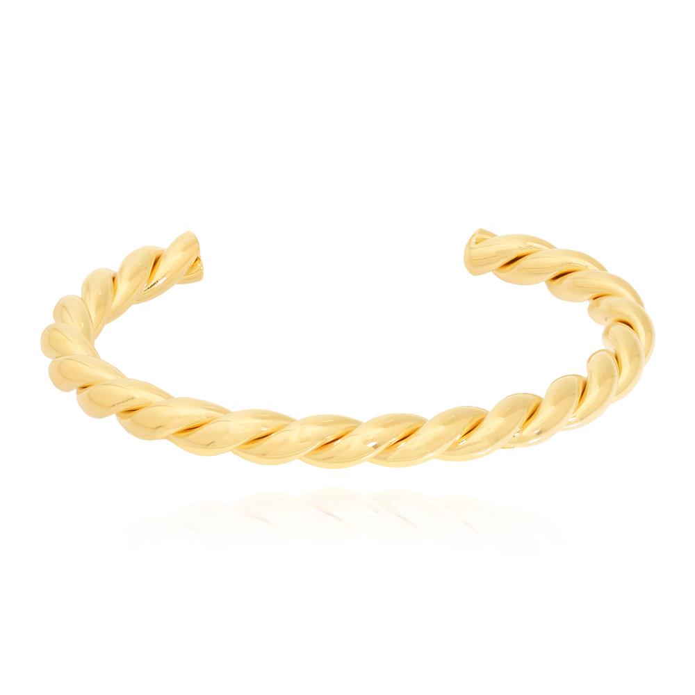 Bracelete Trançado Tubo Médio Semijoia Ouro 18K