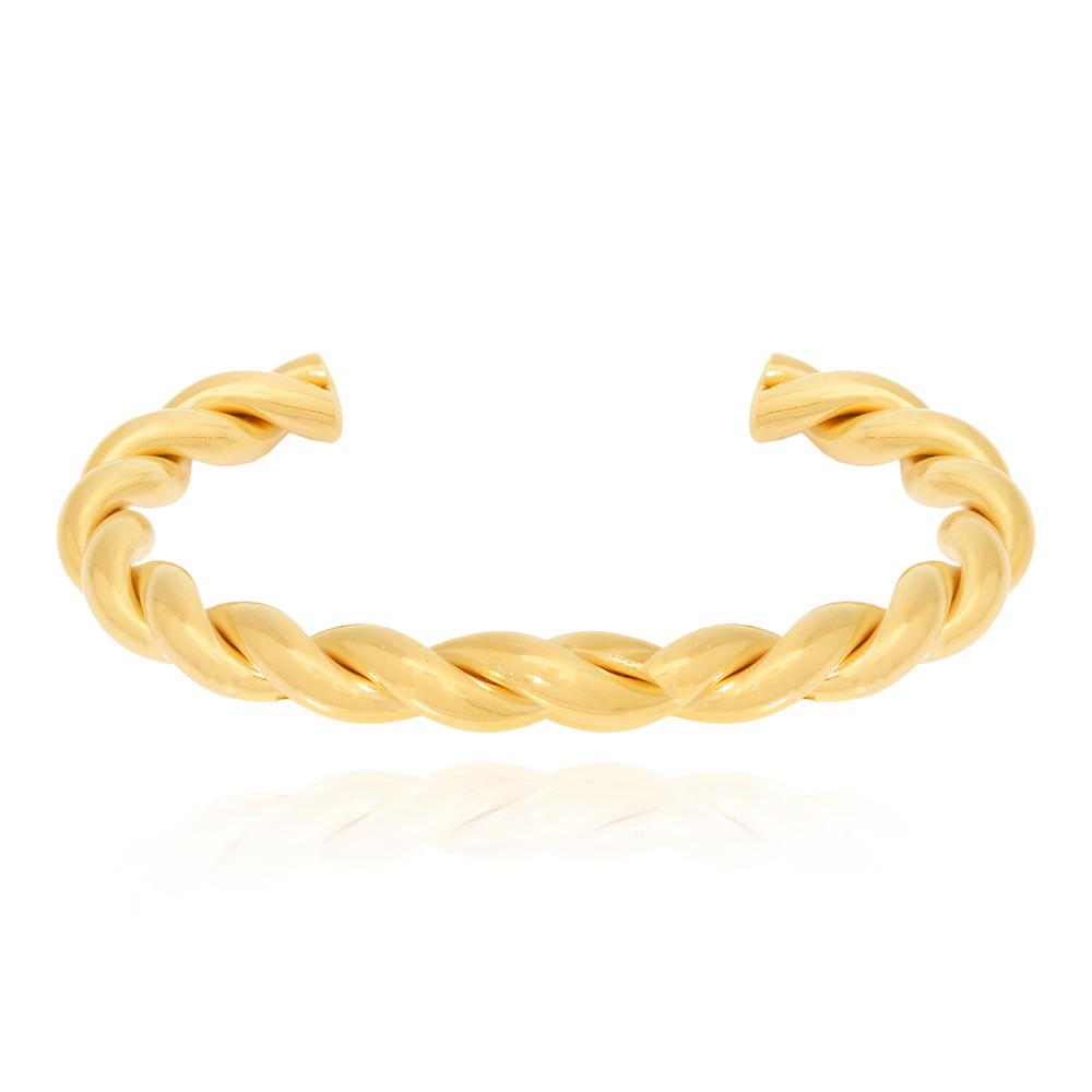Bracelete Trançando Grosso Semijoia Ouro 18K