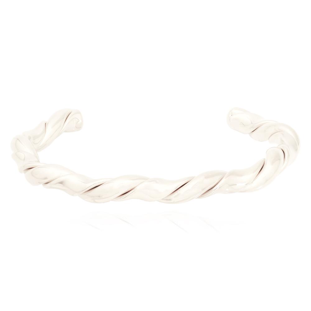 Bracelete Tubo Torcido Banhada a Prata