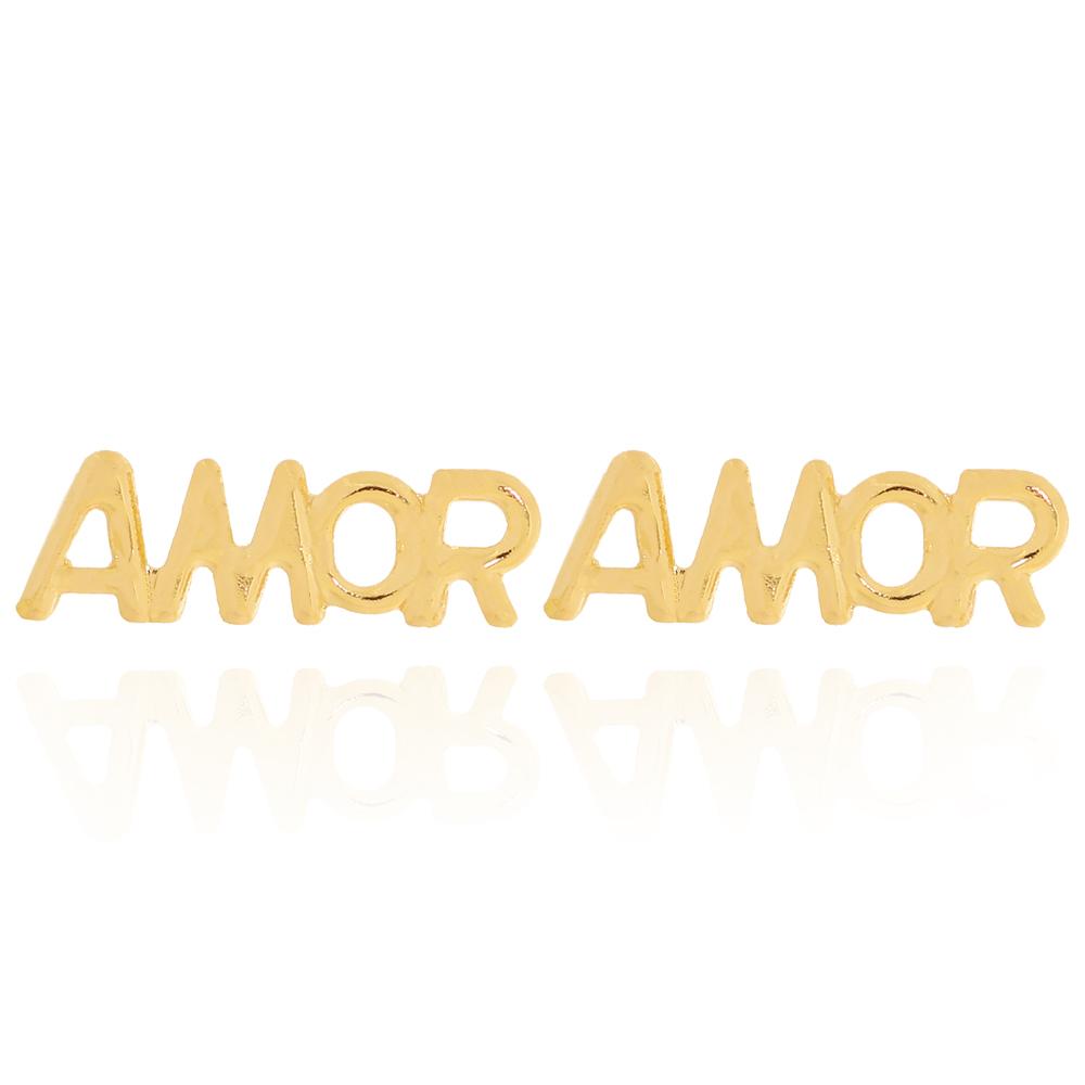Brinco Amor com Letras Vazadas Semijoia Ouro 18K