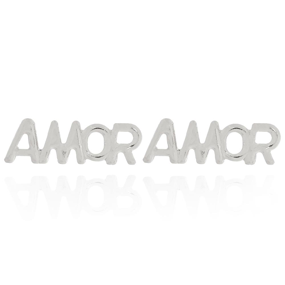 Brinco Amor com Letras Vazadas Semijoia Ródio