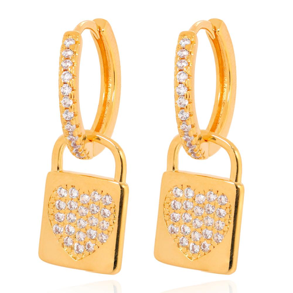 Brinco Argola com Cadeado Folheado Ouro 18K com Micro Zircônia