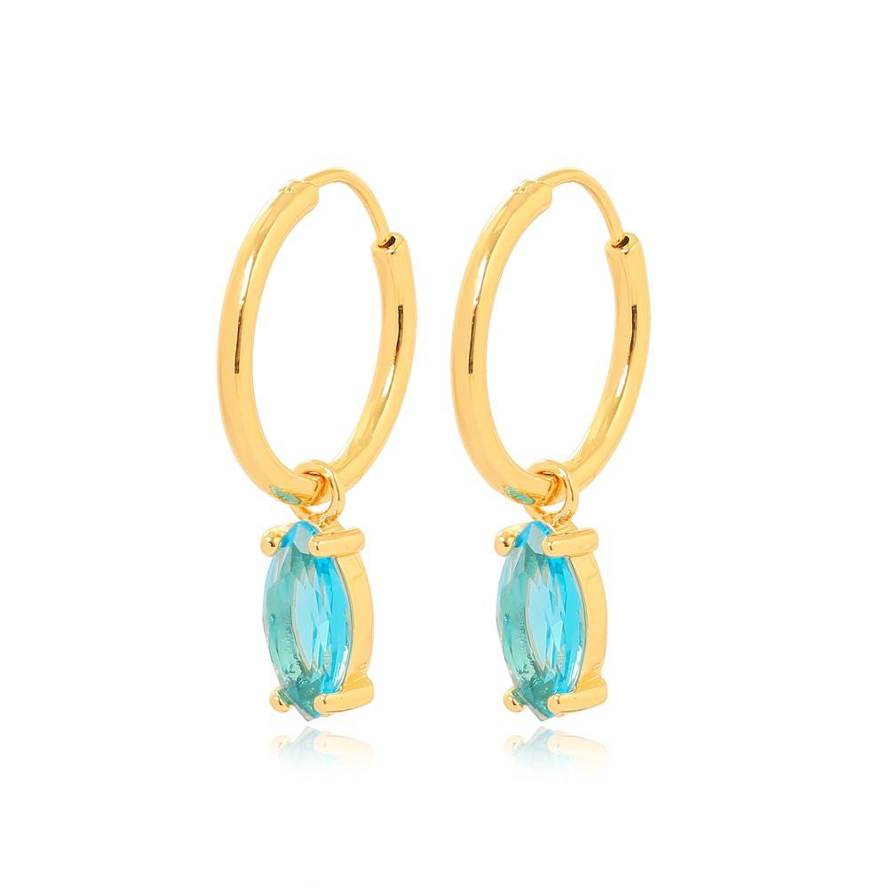 Brinco Argola com Cristal Navete Aguamarine Folheado Ouro 18K
